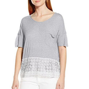 NWT Kensie Grey White Sheer Vicose Top S M XL